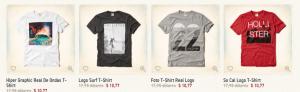 Valores nos Estados Unidos. A camiseta original da Hollister sai por mais ou menos de 35 reais.